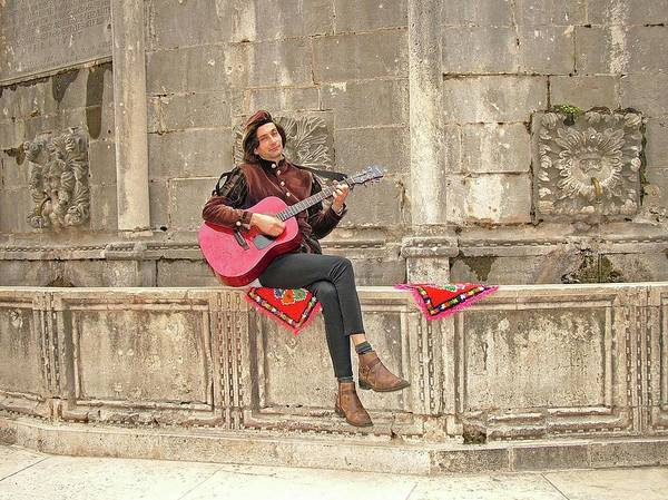 Digital Art - Dubrovnik Street Musician by Joseph Hendrix