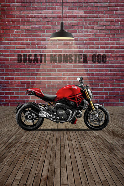 Monster Wall Art - Mixed Media - Ducati Monster 696 Red Wall by Smart Aviation