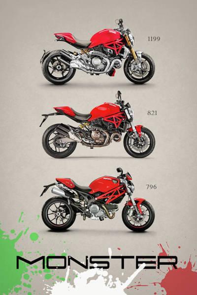 Ducati Bike Photograph - Ducati Monster Trio by Mark Rogan
