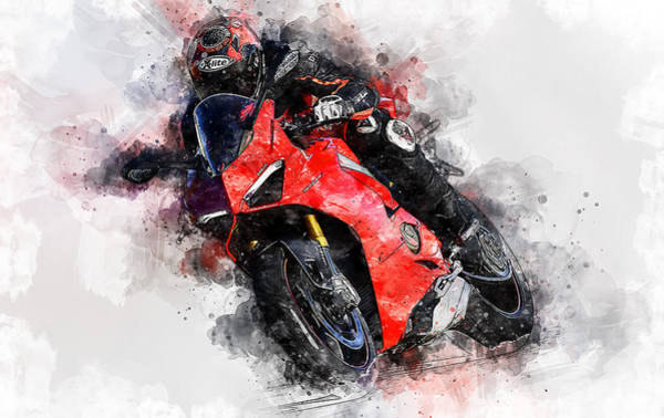 Painting - Ducati Panigale V4 - 09 by Andrea Mazzocchetti