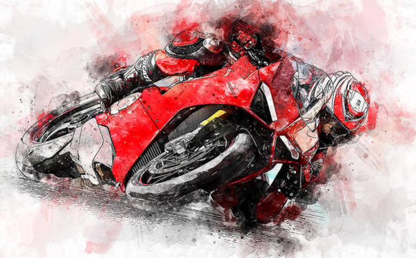 Painting - Ducati Panigale V4 - 10 by Andrea Mazzocchetti