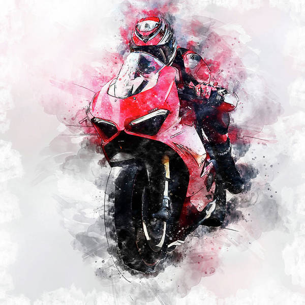Painting - Ducati Panigale V4 - 13 by Andrea Mazzocchetti