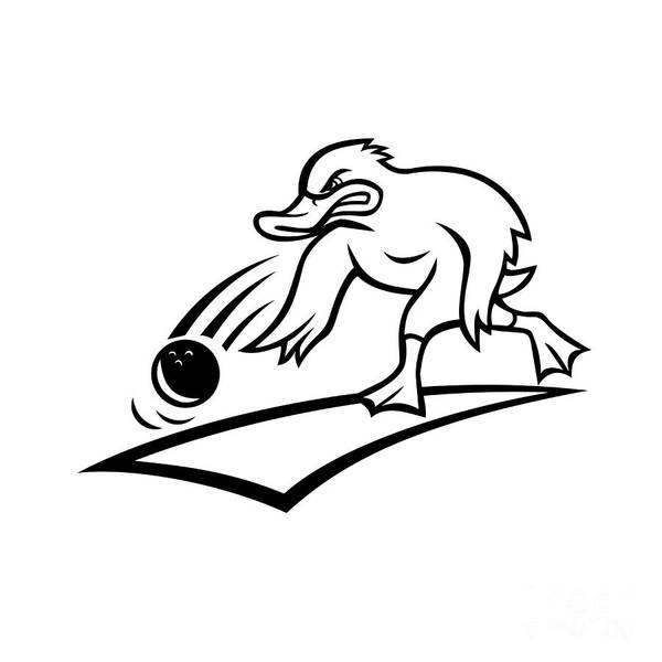 Wall Art - Digital Art - Duck Bowler Bowling Ball Cartoon Black And White by Aloysius Patrimonio