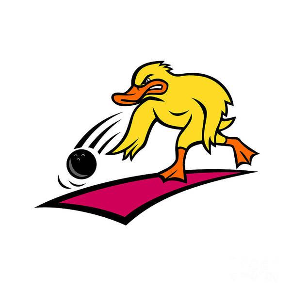 Wall Art - Digital Art - Duck Bowler Bowling Ball Mascot Cartoon by Aloysius Patrimonio