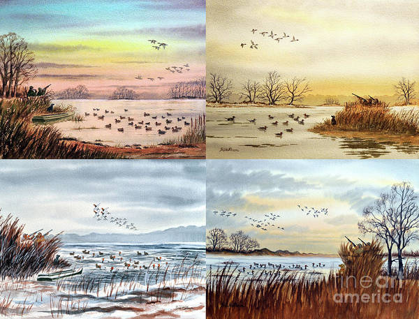Wall Art - Painting - Duck Hunting Collage by Bill Holkham