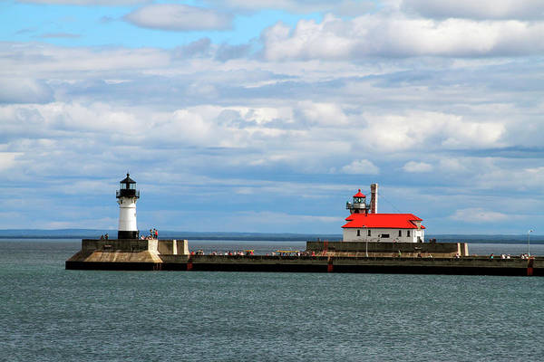 Photograph - Duluth North And South Lighthouses by Bonnie Follett