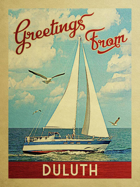 Seagull Digital Art - Duluth Sailboat Vintage Travel by Flo Karp