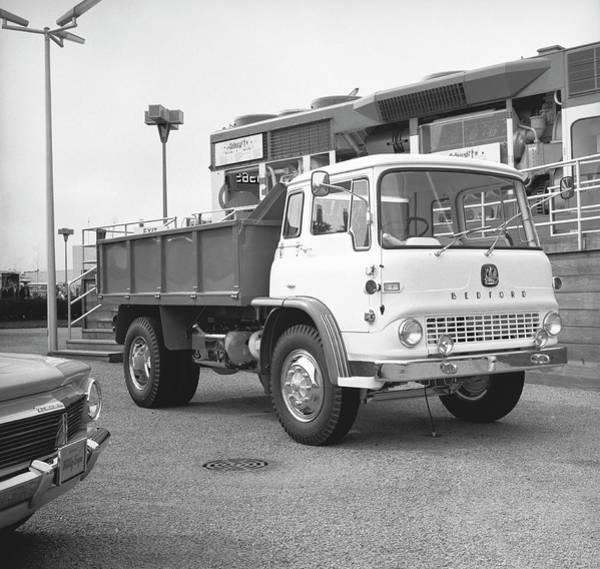 Dump Truck Photograph - Dump Truck On Parking Lot, B&w by George Marks