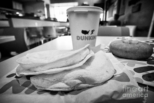 Wall Art - Photograph - Dunkin Donuts Breakfast Egg Wraps Coffee And Traditional Ring Donut In A Restaurant Florida Usa Unit by Joe Fox