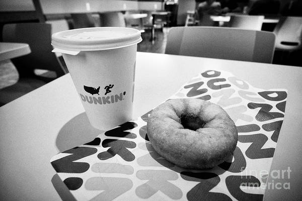 Wall Art - Photograph - Dunkin Donuts Coffee And Traditional Ring Donut In A Restaurant Florida Usa United States Of America by Joe Fox