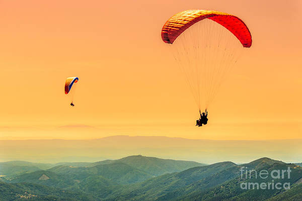 Wall Art - Photograph - Duo Paragliding Flight by Aurelien Laforet