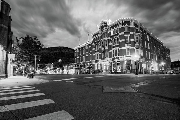 Photograph - Durango Colorado Skyline - Strater Hotel At Dawn Black And White by Gregory Ballos
