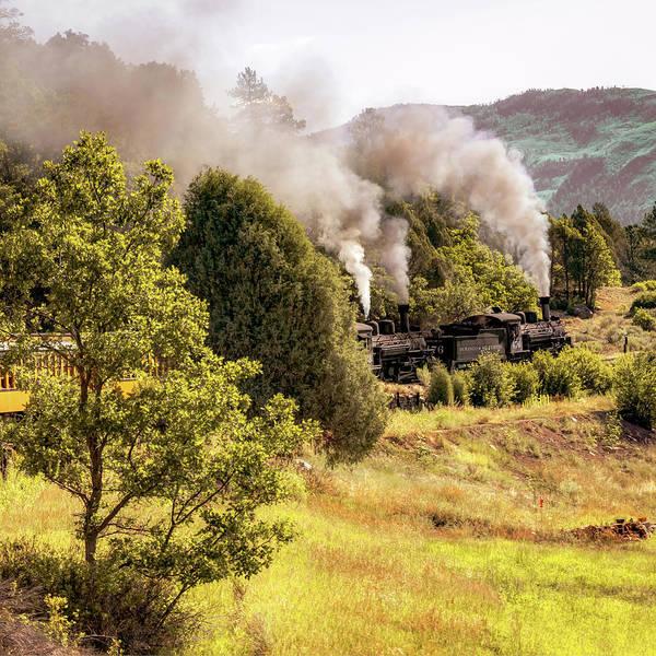 Photograph - Durango Railroad Blowing Smoke - Colorado Mountain Landscape - Square Format by Gregory Ballos