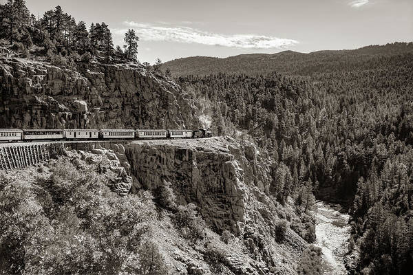 Photograph - Durango Silverton Train On The High Line - Sepia by Gregory Ballos