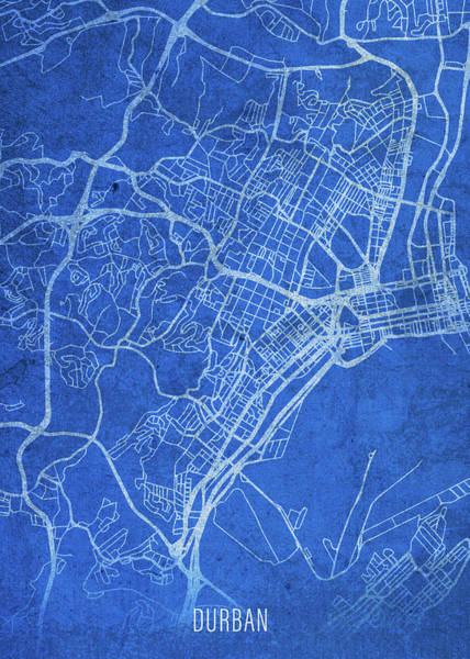 Wall Art - Mixed Media - Durban South Africa City Street Map Blueprints by Design Turnpike