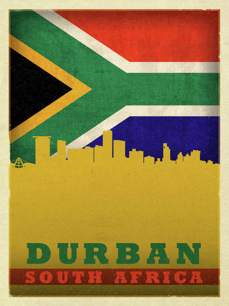 Wall Art - Mixed Media - Durban South Africa World City Flag Skyline by Design Turnpike