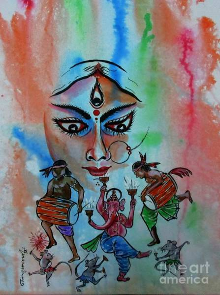 Painting - Devi Durga-3 by Tamal Sen Sharma