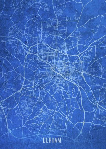 Wall Art - Mixed Media - Durham North Carolina City Street Map Blueprints by Design Turnpike