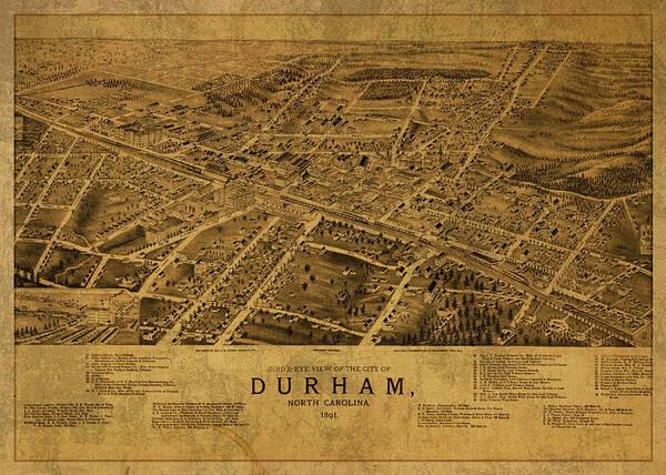 Durham Wall Art - Mixed Media - Durham North Carolina Vintage City Street Map 1891 by Design Turnpike