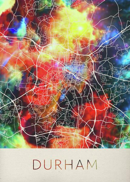 Durham Wall Art - Mixed Media - Durham North Carolina Watercolor City Street Map by Design Turnpike