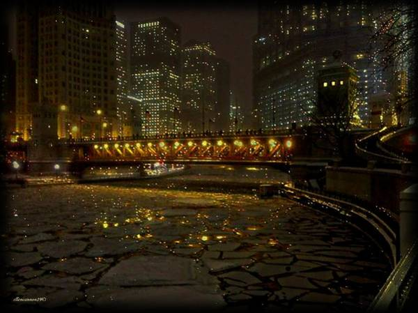 Chicago River Digital Art - Dusable Bridge Reflections by Ellen Cannon