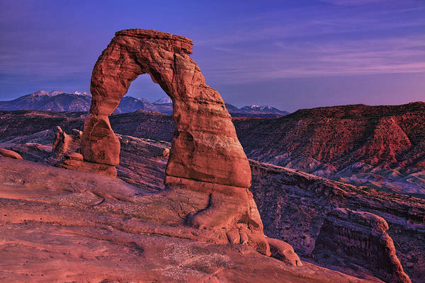 Natural Arch Photograph - Dusk At Delicate Arch, Arches National by Michael Riffle