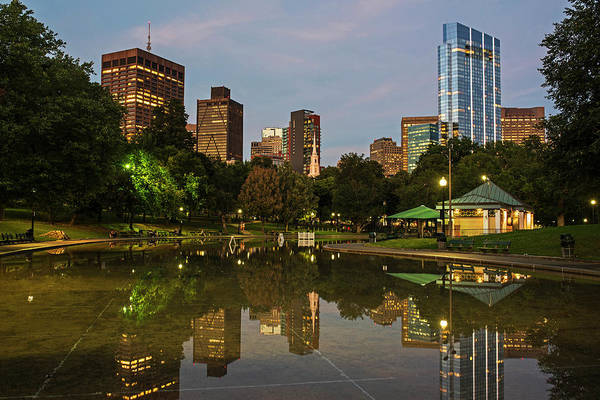 Photograph - Dusk At The Boston Common Frog Pond Skyline Reflection by Toby McGuire