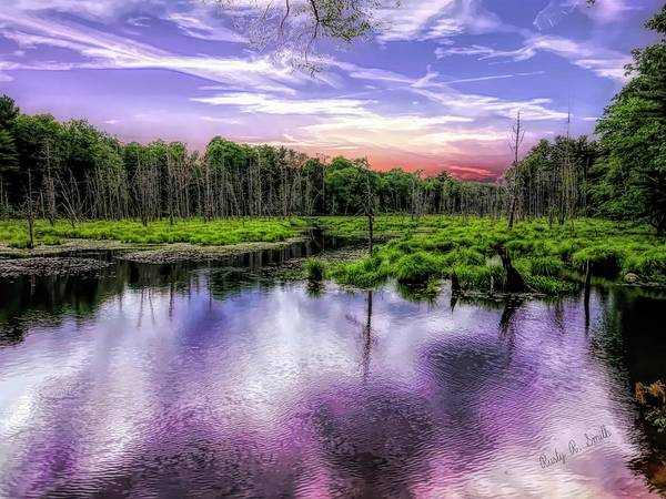 Digital Art - Dusk Falls Over New England Beaver Pond. by Rusty R Smith