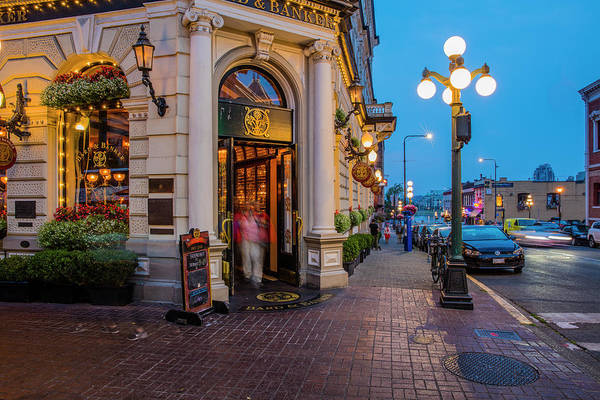 Wall Art - Photograph - Dusk In Downtown Victoria, British by Chuck Haney
