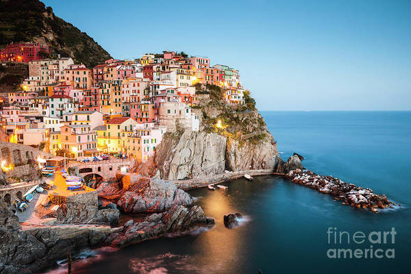 Wall Art - Photograph - Dusk In Manarola, Cinque Terre, Liguria, Italy by Matteo Colombo
