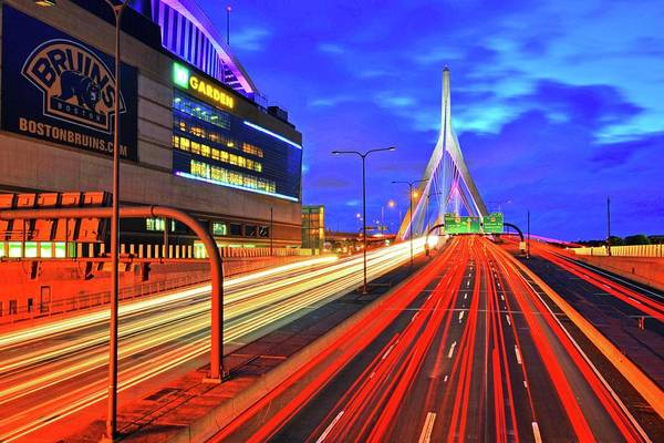 Photograph - Dusk On The Zakim Bridge Boston Ma Td Garden by Toby McGuire