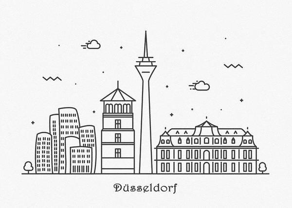 Landmark Center Drawing - Dusseldorf Cityscape Travel Poster by Inspirowl Design