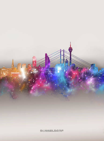 Wall Art - Digital Art - Dusseldorf Skyline Galaxy by Bekim M