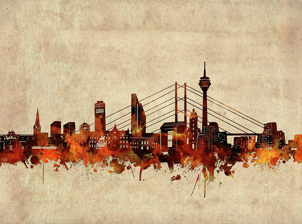Wall Art - Digital Art - Dusseldorf Skyline Sepia by Bekim M