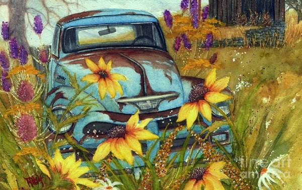 Wall Art - Painting - Dusty Blues - Rusty Old Chevy Pick Up Truck  by Janine Riley