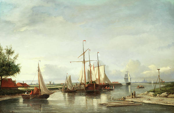 Beyond Painting - Dutch Boats With Haarlem Beyond by Johannes Frederick Hulk
