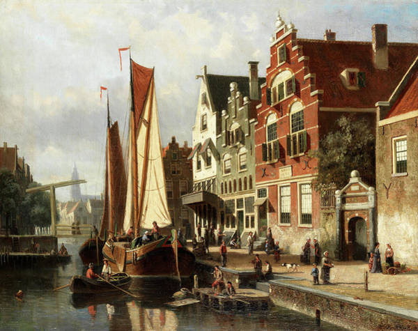 Wall Art - Painting - Dutch Canal Scene With Barge Unloading by Willem Koekkoek