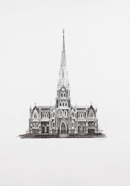 Drawing - Dutch Reformed Church Graaff-reinet by Dawid Theron