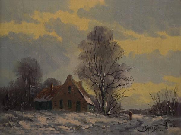 Painting - Dutch Snow Landscape by Nop Briex