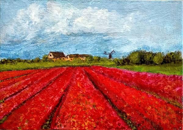 Painting - Dutch Tulips Farm by Asha Sudhaker Shenoy