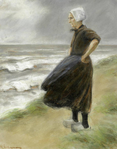 Wall Art - Painting - Dutchwoman, Standing In The Dunes To The Left by Max Liebermann