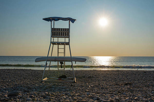 Photograph - Duxbury Beach Lifeguard Chair Sunrise Duxbury Ma by Toby McGuire
