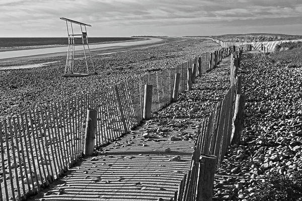 Wall Art - Photograph - Duxbury Ma Beach Fences South Shore Lifeguard Chair Black And White by Toby McGuire