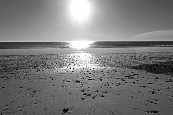 Wall Art - Photograph - Duxbury Ma Beach Sunrise South Shore Blue Water Sun Reflection Black And White by Toby McGuire