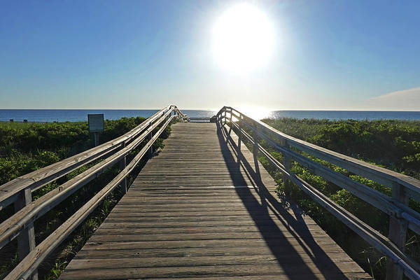 Wall Art - Photograph - Duxbury Ma Beach Sunrise South Shore Blue Water Wooden Bridge Walkway by Toby McGuire