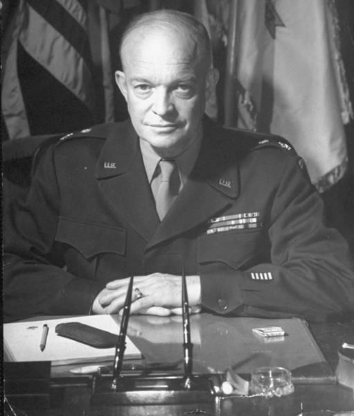 Publication Photograph - Dwight D. Eisenhower by David E. Scherman