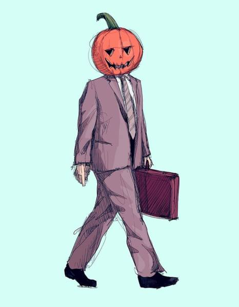 Pumpkins Wall Art - Drawing - Dwight Halloween by Ludwig Van Bacon