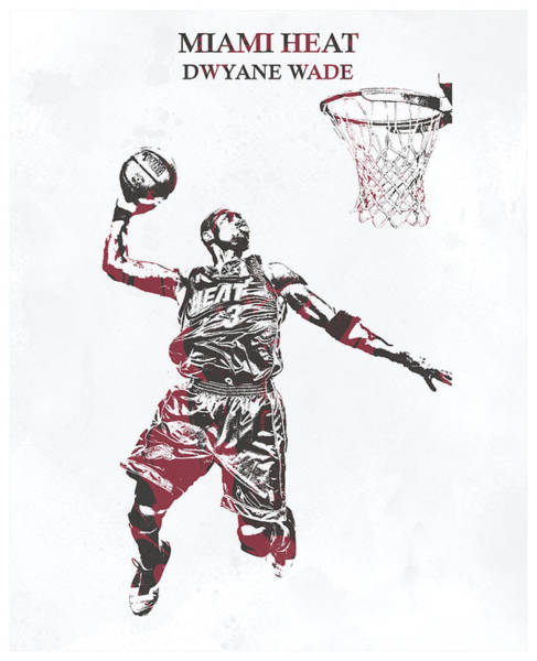 Wall Art - Mixed Media - Dwyane Wade Miami Heat Pixel Art 50 by Joe Hamilton