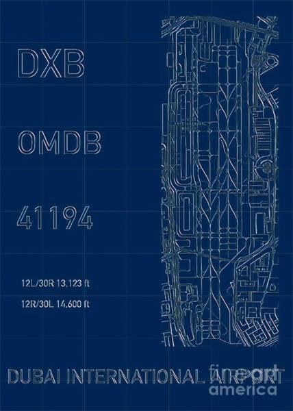 Digital Art - Dxb Dubai Airport Blueprint by Helge