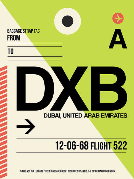 Wall Art - Digital Art - Dxb Dubai Luggage Tag I by Naxart Studio